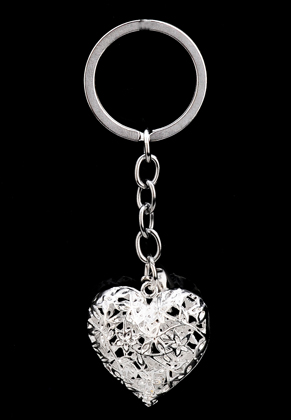 www.misstella.com - Key fob heart with strass inside and bell 9,5x3cm