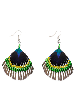 www.misstella.com - Earrings peacock feather with glass beads 75x50mm