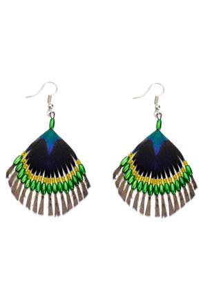 www.misstella.fr - Boucles d'oreille plume de paon avec perles 75x50mm