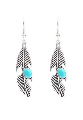 www.misstella.com - Earrings feather with natural stone Turquoise Howlite