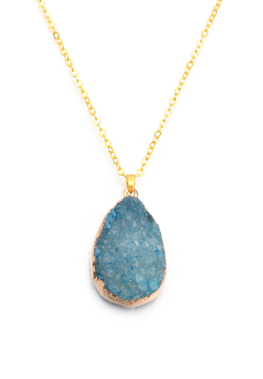 www.misstella.com - Necklace with natural stone pendant Crystal drop 45-50cm