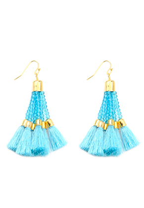 www.misstella.com - Earrings with tassels and glass beads 7x2,5cm