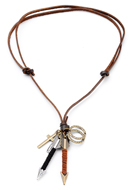 www.misstella.nl - Leren halsketting met hangers pijlen en kruis 60-80cm - J07277