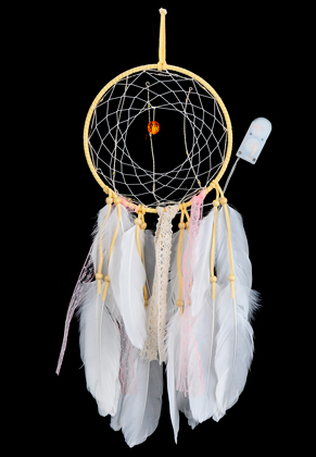 www.misstella.com - Pendant dreamcatcher with feathers and LED lights 50x16cm