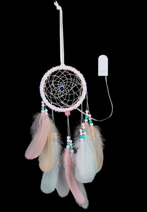 www.misstella.fr - Pendentif capteur de rêves avec plumes et lumières LED 50x11cm