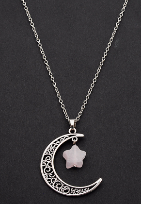 www.misstella.com - Necklace with moon and star natural stone Rose Quartz 60-65cm