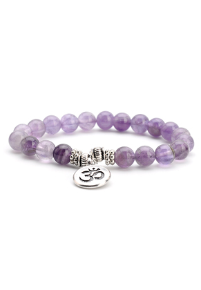 www.misstella.com - Natural stone bracelet Amethyst with Ohm sign 17,5cm