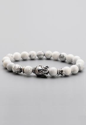 www.misstella.com - Natural stone bracelet Howlite with Buddha 18cm