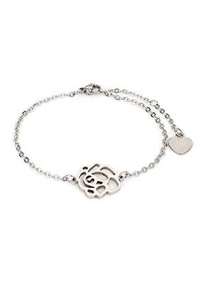 www.misstella.nl - Roestvrijstalen armband met roos 17-22cm
