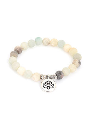 www.misstella.com - Natural stone bracelet Amazonite with lotus, stretchable 19cm