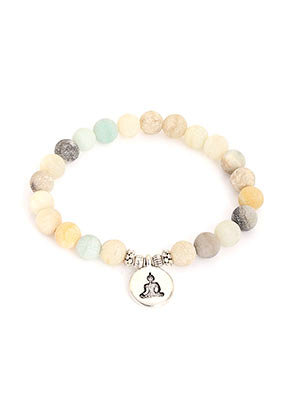 www.misstella.com - Natural stone bracelet Amazonite with Buddha, stretchable 19cm