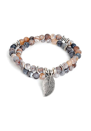 www.misstella.com - Wrap bracelet with natural stone Agate crackle 19cm