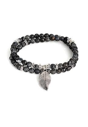 www.misstella.com - Wrap bracelet with natural stone Agate crackle 19cm