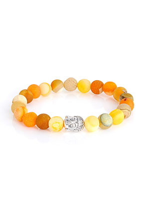 www.misstella.com - Natural stone braceletAgate crackle with Buddha 19cm