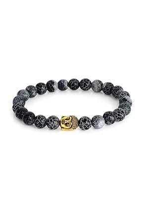 www.misstella.com - Natural stone braceletAgate crackle with Buddha 19cm