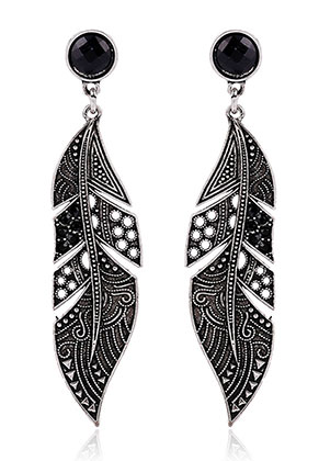 www.misstella.com - Earrings feather with strass 73x17mm