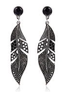 www.misstella.com - Earrings feather with strass 73x17mm - J07621