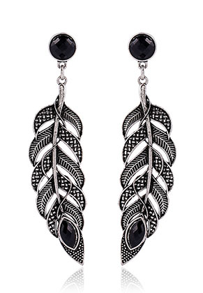 www.misstella.com - Earrings feather with strass 73x17mm
