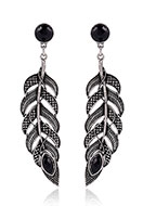 www.misstella.com - Earrings feather with strass 73x17mm - J07622