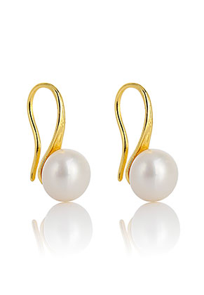 www.misstella.com - Metal earrings with freshwater pearl 18x8mm