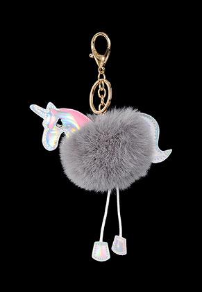 www.misstella.com - Key fob with fluff ball unicorn