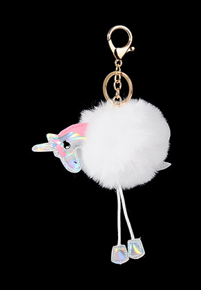 www.misstella.com - Key fob with fluff ball unicorn