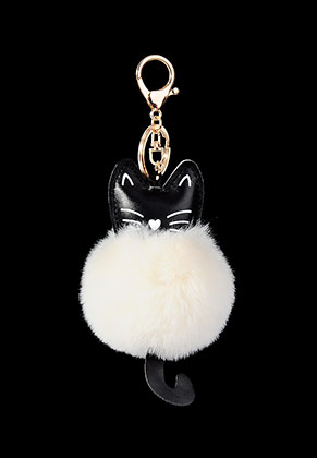 www.misstella.com - Key fob with fluff ball cat
