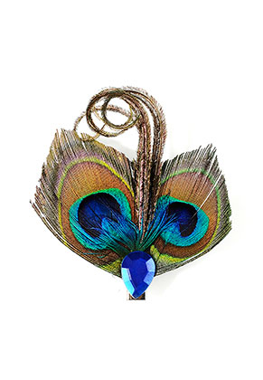 www.misstella.com - Brooch/hairpin with peacock feathers 8x7,5cm