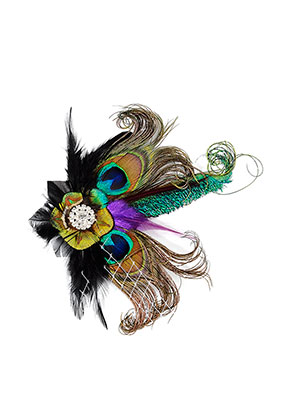 www.misstella.com - Brooch/hairpin with peacock feathers 17cm