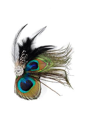 www.misstella.fr - Broche/épingle à cheveux avec plumes de paon 13x12cm