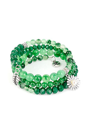 www.misstella.com - Avilana memory wire wrap bracelet with Agate beads 19cm