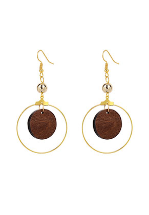 www.misstella.com - Earrings with wooden pendant 72x36mm