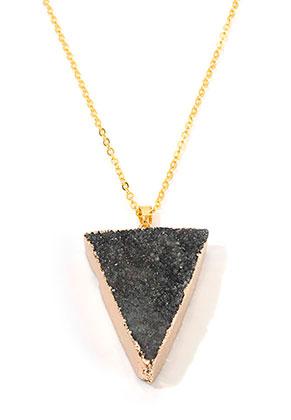 www.misstella.nl - Halsketting met natuursteen hanger Crystal driehoek 45-50cm