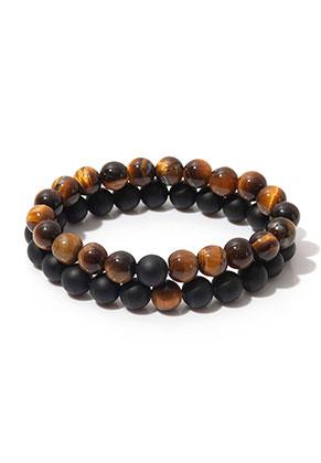 www.misstella.com - Set of natural stone distance bracelets Agate/Yellow Tiger Eye 19cm