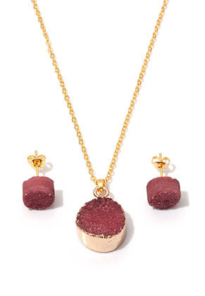 www.misstella.com - Set of natural stone necklace and ear studs Crystal