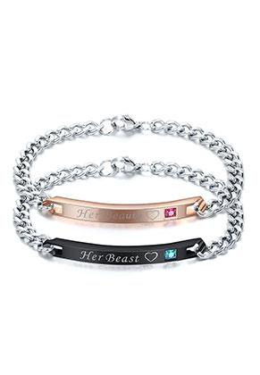 www.misstella.fr - Ensemble de bracelets couple en acier inoxydable avec strass