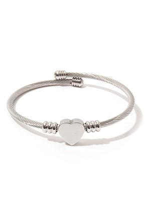 www.misstella.nl - Roestvrijstalen bangle armband open met hartje 20cm