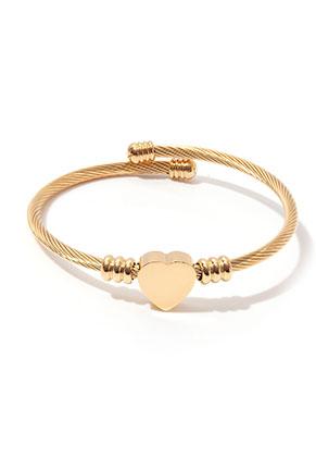www.misstella.fr - Bracelet bangle ouvert en acier inoxydable avec coeur 20cm