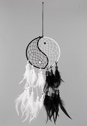 www.misstella.com - Pendant dreamcatcher with feathers yin yang 60x15cm