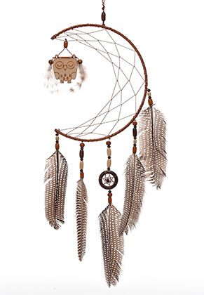 www.misstella.com - Pendant dreamcatcher moon with feathers 57x20cm