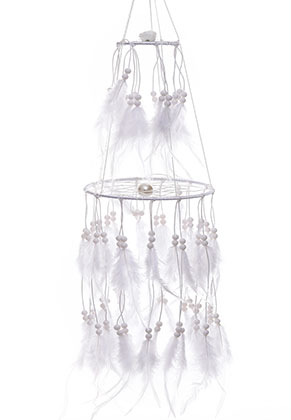 www.misstella.com - Pendant dreamcatcher with feathers and LED lights 80x15cm