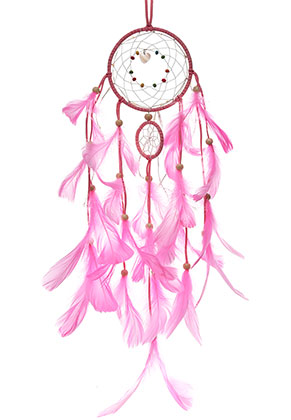 www.misstella.com - Pendant dreamcatcher with feathers and LED lights 63x11cm