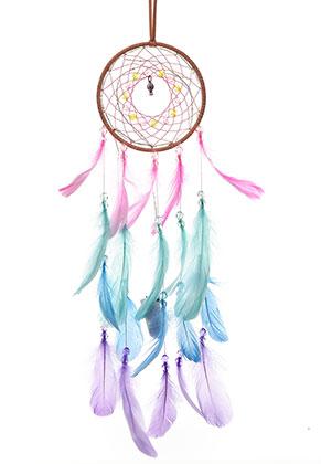 www.misstella.fr - Pendentif capteur de rêves avec plumes et lumières LED 61x13cm