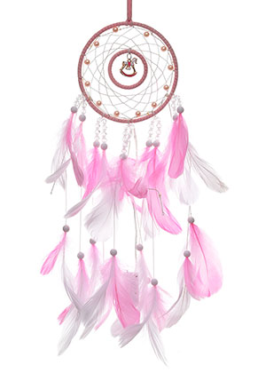 www.misstella.com - Pendant dreamcatcher with feathers and LED lights 60x13cm