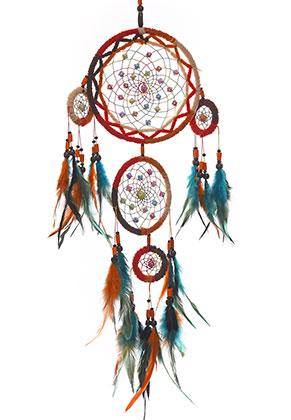 www.misstella.fr - Pendentif capteur de rêves avec plumes 76x17cm