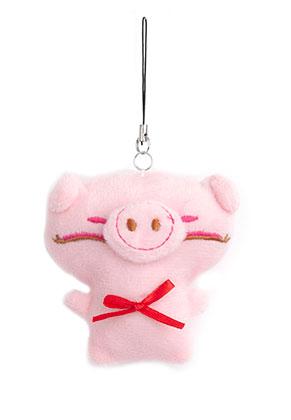 www.misstella.fr - Pendentif/porte-clés en textile cochon 8x8cm