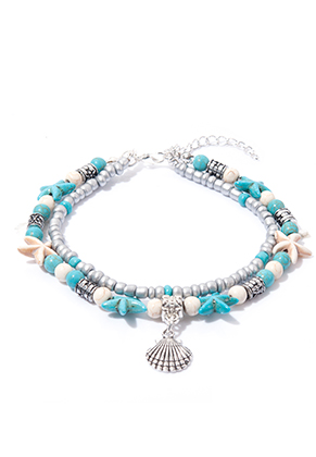 www.misstella.com - Bracelet/anklet with starfish and shell 21-26cm