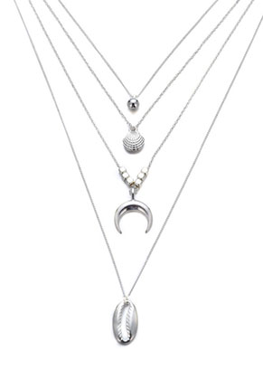 www.misstella.com - Layered necklace with pendants shells 63-68cm