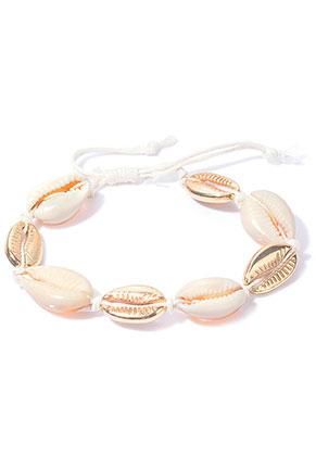 www.misstella.de - Armband mit Wachsschnur und Muscheln 20-25cm