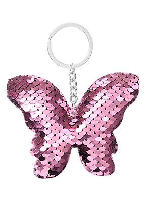 www.misstella.fr - Porte-clés avec paillettes réversibles papillon